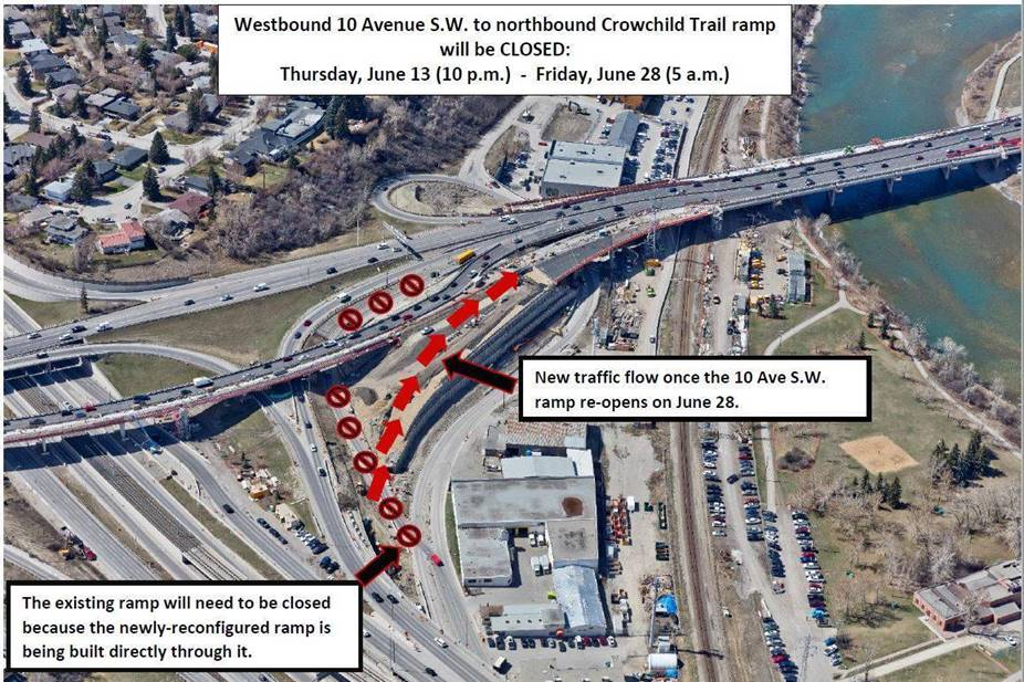 City of Calgary Crowchild Trail Upgrades- Upcoming Major Traffic Impact - Full Closure of 10 Avenue S.W. Ramp